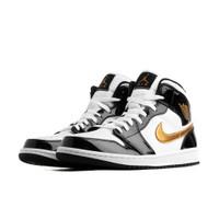 Jordan 1 Mid Patent Black White Gold - 852542-007
