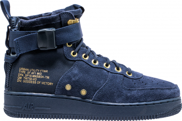 Nike SF Air Force 1 Mid Obsidian Metallic Gold - 917753-400