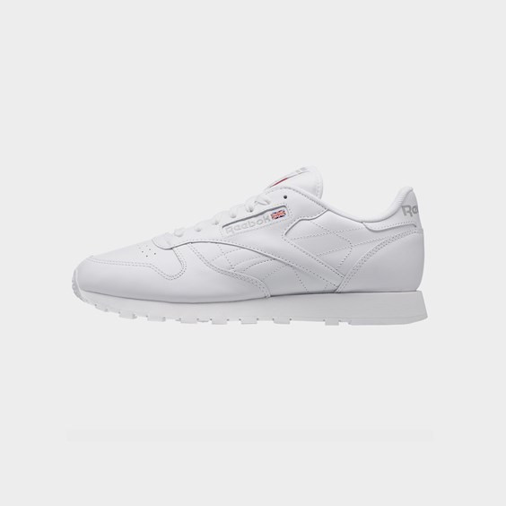 Reebok Mens Reebok Classic Leather - Mens Running Shoes White/White/Light Grey Size 09.5 - 9771