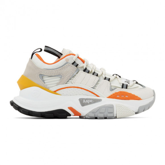 AAPE by A Bathing Ape White and Orange Dimension Sneakers - AAPSHM6540XXDWHX