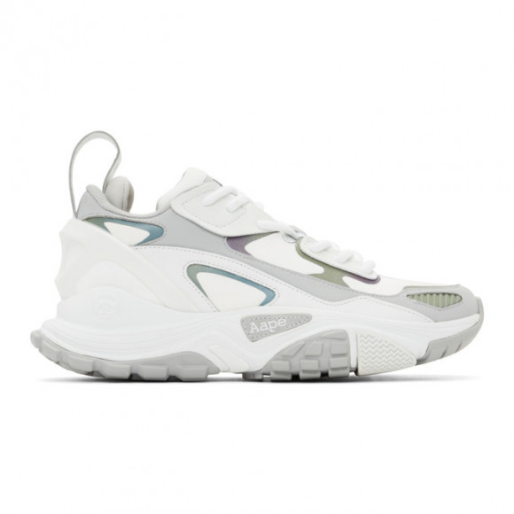 AAPE by A Bathing Ape White and Grey Iridescent Dimension Sneakers - AAPSHM6640XAEWHE