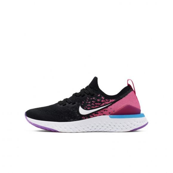 Nike Girls Epic React Flyknit 2 Running Shoes Black/White/Pink Blast Size 6.5 - AQ3243-016