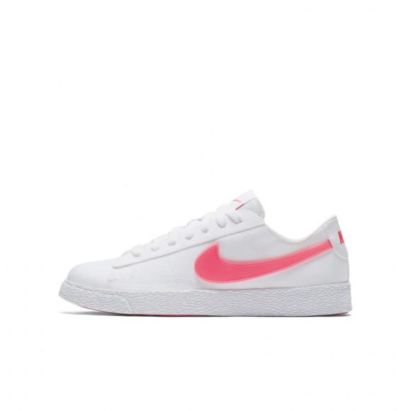 Girls Nike Nike Blazer Low - Girls' Grade School Shoe White/Pink Size 5 - AQ5604-100