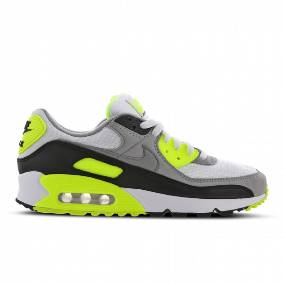 Nike Mens Nike Air Max 90 Mens Running Shoes WhiteParticle GreyVoltBlack Size 9.5
