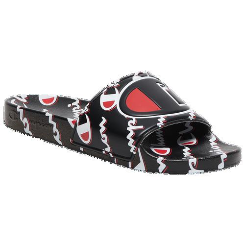 Champion IPO Mega Script Slides - Men's Slides - Black / Red / White - CP100571M