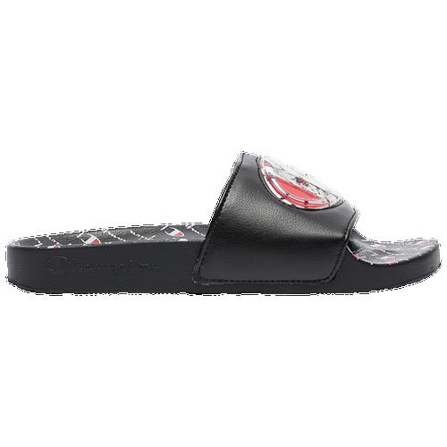 Champion IPO Jellie Slides - Girls' Grade School Slides - Black / White / Red - CPS10223