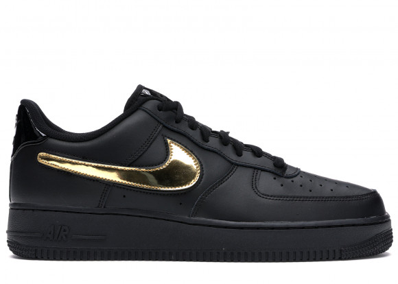 Nike Air Force 1 Black Metallic Gold Removable Swoosh Pack - CT2252-001