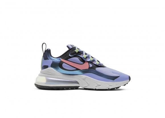 Nike Womens Nike Air Max 270 React - Womens Running Shoes Dark Smoke Grey/Sunblush/Light Thistle Size 05.0 - CU4818-001