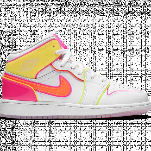 Girls Jordan Jordan AJ 1 Mid Edge Glow - Girls' Grade School Shoe White/Hyper Crimson/Pink Blast Size 07.0 - CV4611-100