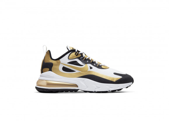 Nike Air Max 270 React White Black Metallic Gold - CW7298-100