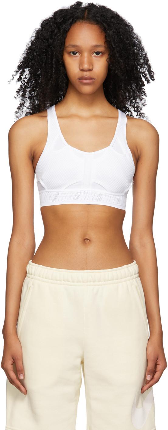 Nike White Swoosh UltraBreathe Sport Bra - CZ4439-100