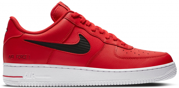 Nike Air Force 1 Low Cut Out Swoosh Red Black - CZ7377-600