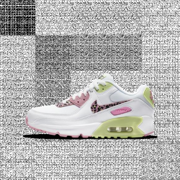 Nike Air Max 90 GS White/ Pink Rise-Pink Rise-Barely Volt - DA4675-100