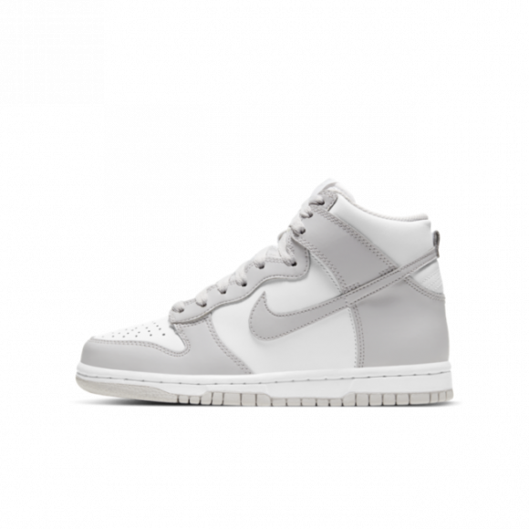 Boys Nike Nike Dunk High - Boys' Grade School Shoe White/Grey Size 04.5 - DB2179-101