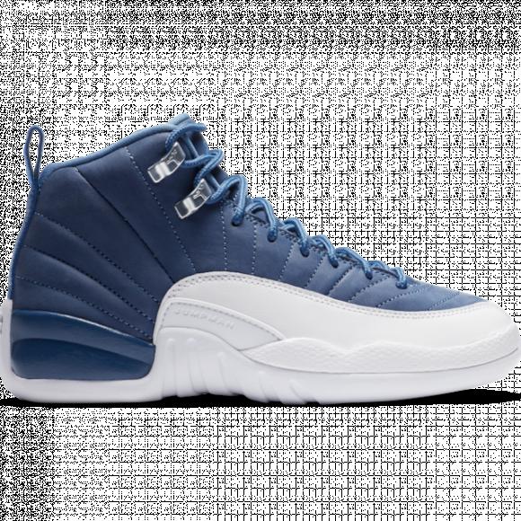 Boys Jordan Jordan Retro 12 - Boys' Grade School Shoe Stone Blue/Legend Blue/Obsidian Size 05.5 - DB5595-404