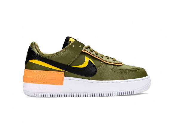 Nike Womens WMNS Air Force 1 Shadow 'Olive Flak' Olive Flak/Black/University Gold Sneakers/Shoes DC1876-300