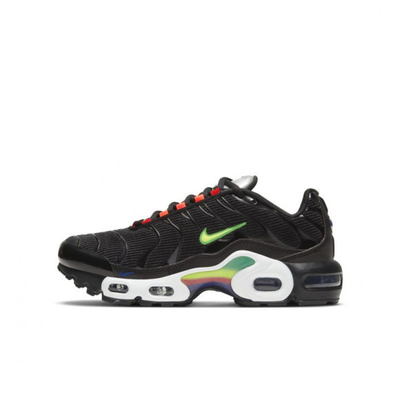 Nike Boys Nike Air Max Plus - Boys' Grade School Running Shoes Black/Yellow/White Size 05.0 - DD2008-001