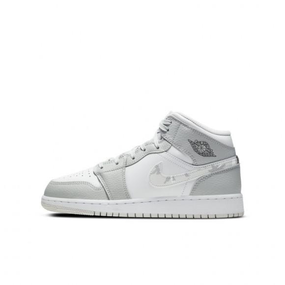Boys Jordan Jordan AJ 1 Mid - Boys' Grade School Shoe Gray/White/Gray Size 07.0 - DD3235-100