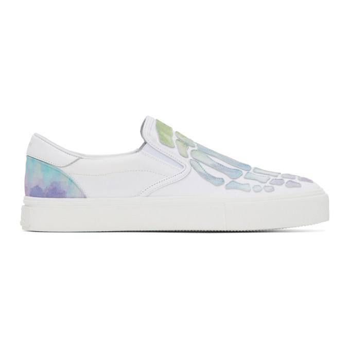 AMIRI White Watercolor Skeleton Toe Slip-On Sneakers - F0F23140CL