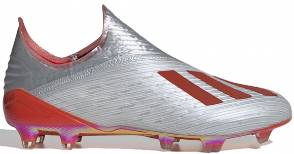 adidas X 19+ Firm Ground Cleat Silver Metallic Hi Res Red