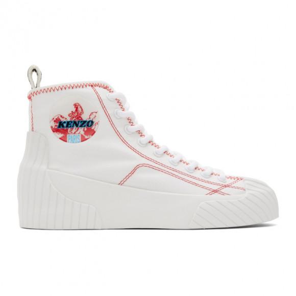 Kenzo White Volkano High-Top Sneakers - FA52SN161F54