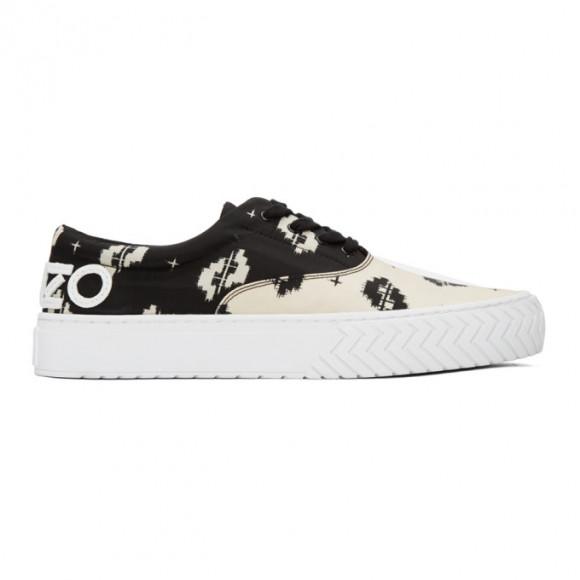 Kenzo Black and Off-White Printed IKAT K-Skate Sneakers - FA55SN260F78