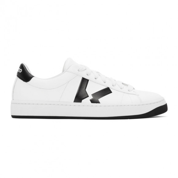 Kenzo | Women 20mm Court Leather Low Top Sneakers White/black 41 - FA62SN170L50