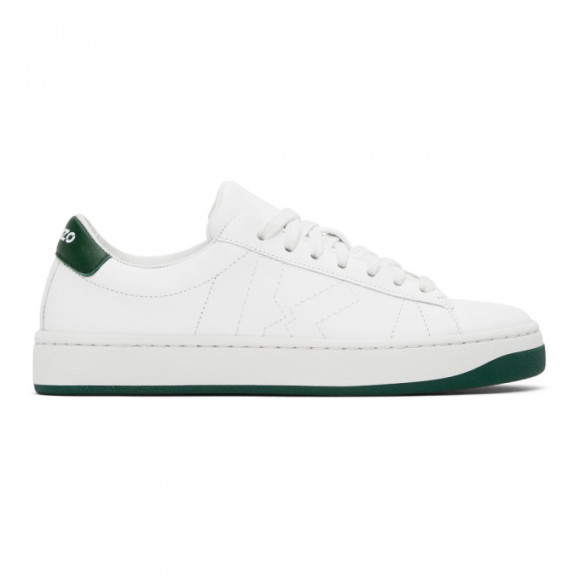 Kenzo | Women 20mm Logo Embroidered Leather Sneakers White/green 41 - FA62SN171L50