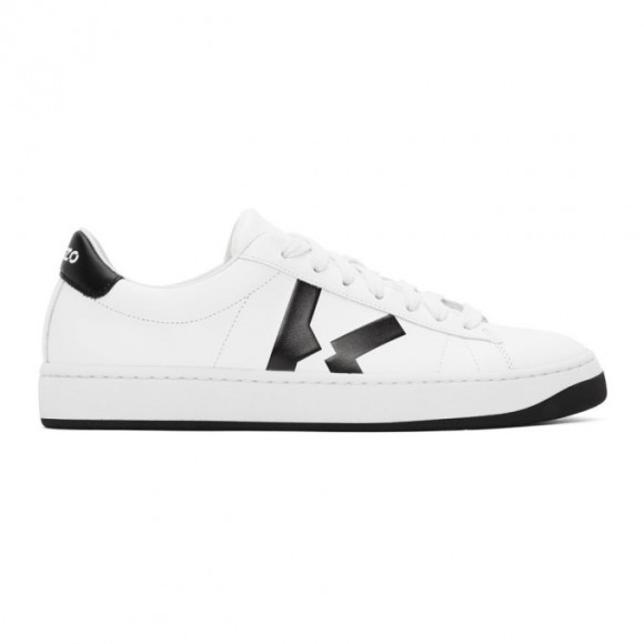 Kenzo | Men Leather Sneakers W/ Logo Detail White 45 - FA65SN170L50