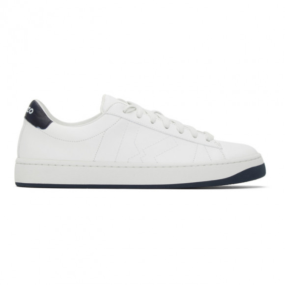 Kenzo White and Navy Sport Logo Sneakers - FA65SN171L50