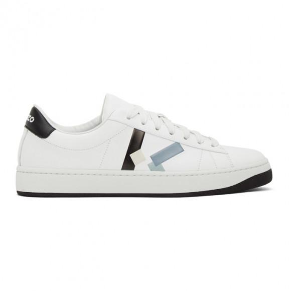 Kenzo White K-Logo Kourt Sneakers - FA65SN172L50