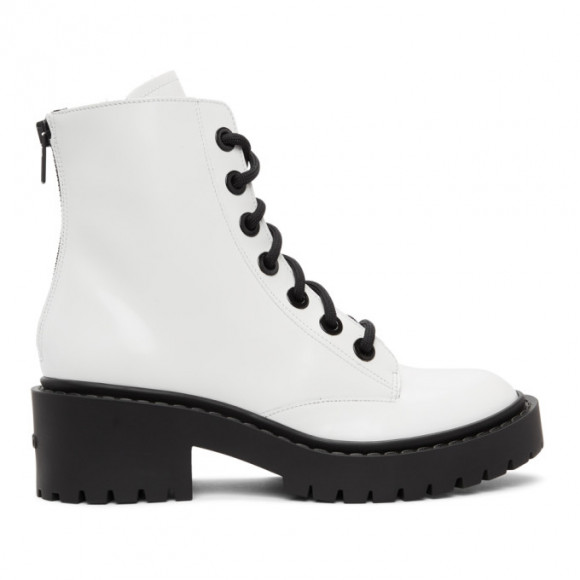 Kenzo White Pike Lace-Up Boots - FB52BT340L67