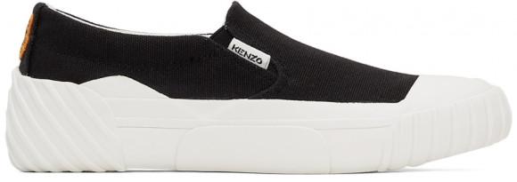 Kenzo Black Tiger Crest Slip-On Sneakers - FB62SN420F50