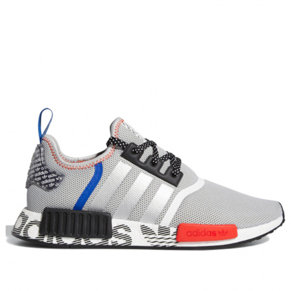 Adidas NMD_R1 Logo Print Grey/Black/Red Marathon Running Shoes/Sneakers FV5217 - FV5217