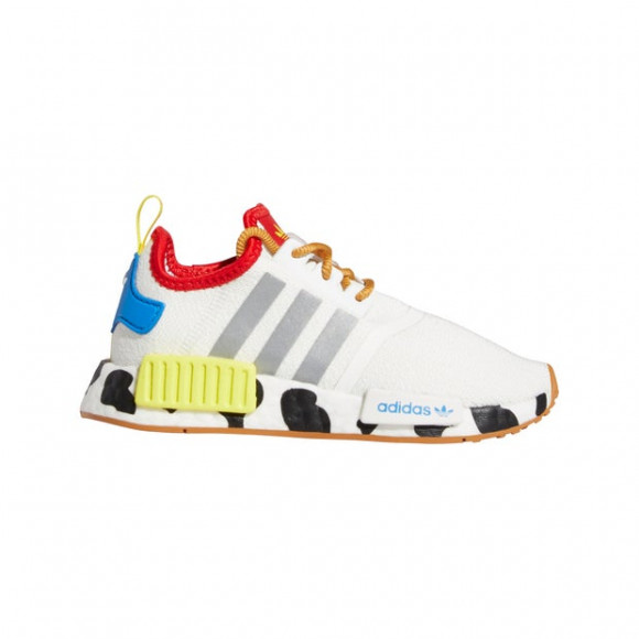 Adidas Toy Story x NMD_R1 Little Kid 'Sheriff Woody' Cloud White/Silver Metallic/Bright Yellow Marathon Running Shoes/Sneakers FZ4541