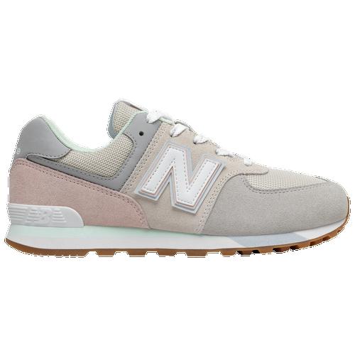 New Balance 574 - Boys' Grade School Running Shoes - Grey / Oyster / Pink - GC574PG1