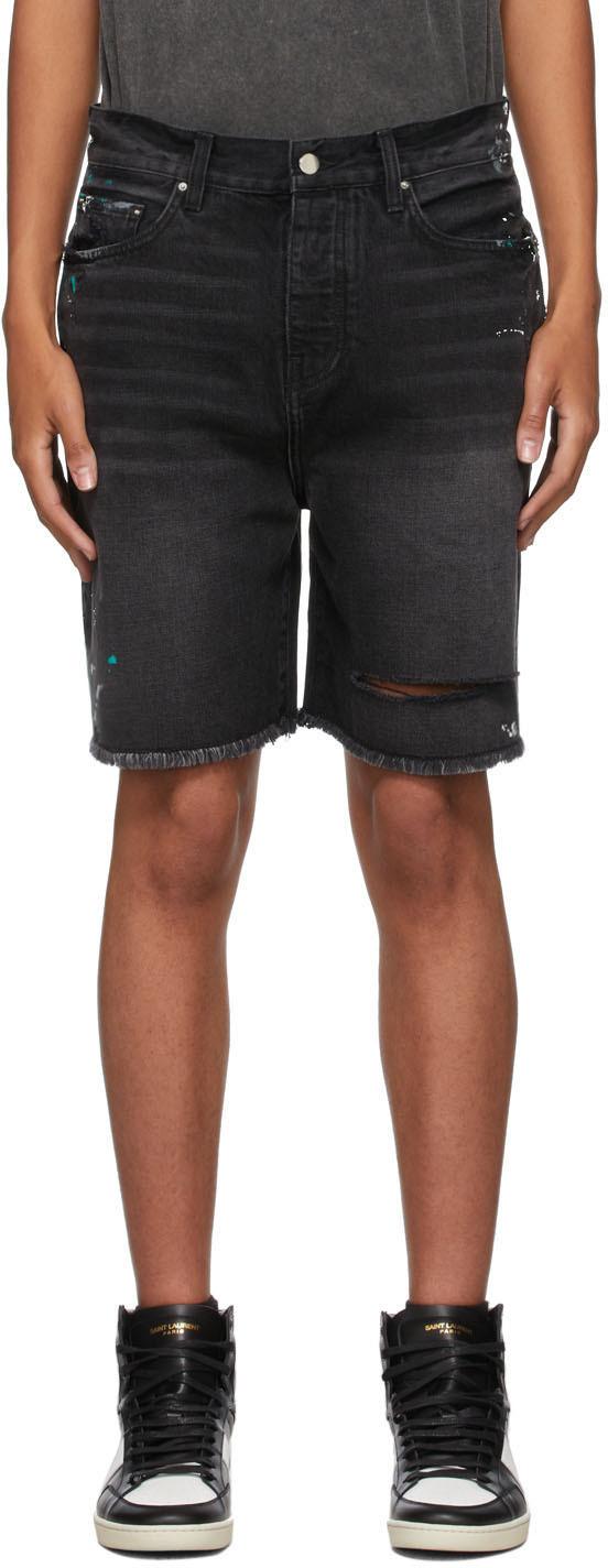 AMIRI 黑色 Painter Bermuda 牛仔短裤 - MDB020-023