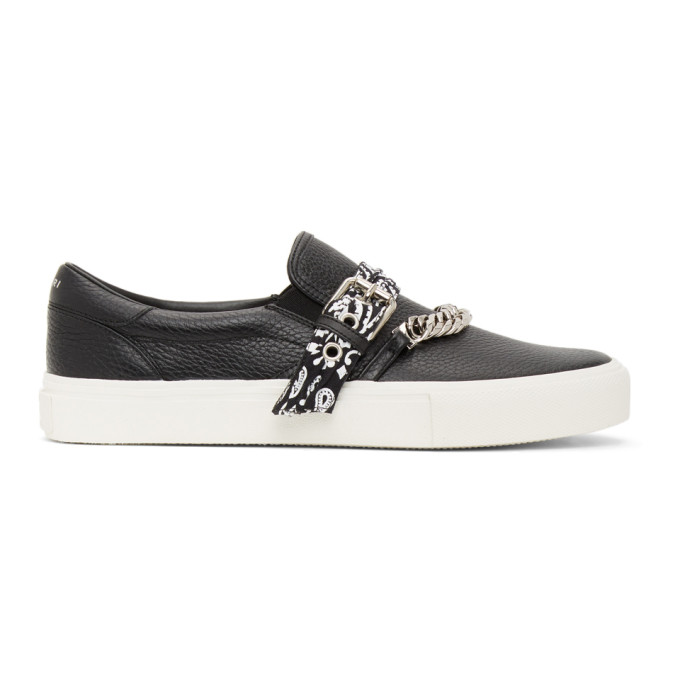 AMIRI Black Bandana Chain Slip-On Sneakers - MFS005-008