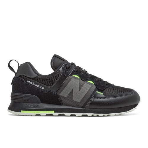 Uomo New Balance 574 - Black/Bleached Lime Glo, Black/Bleached Lime Glo