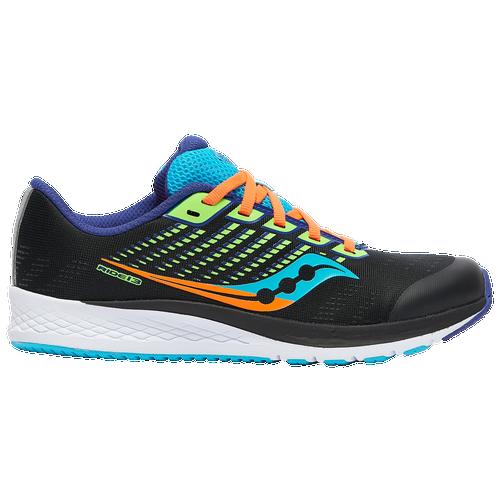 Saucony Ride 13 - Boys' Grade School Running Shoes - Black / Green - SK264329