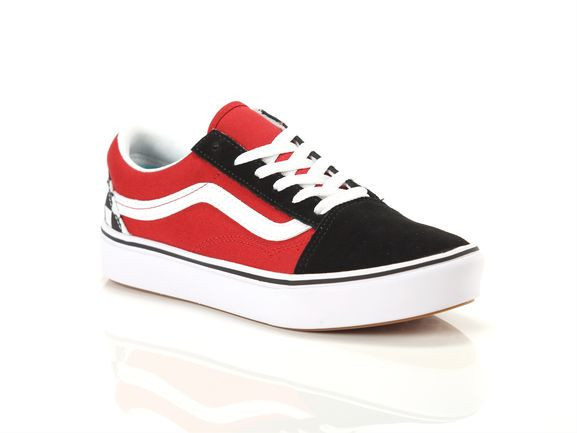 VANS Youth Checkerboard Comfycush Old Skool Shoes (8-14 Years) ((checkerboard) Black/red) Youth Black, Size 3 - VN-0A4UHA35U1