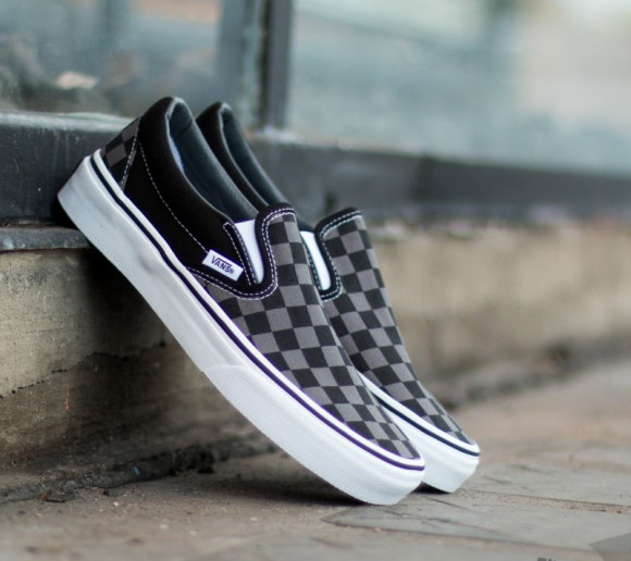 VANS Checkerboard Classic Slip on Shoes (blackpewter Checkerboard) Women Grey, Size 10.5