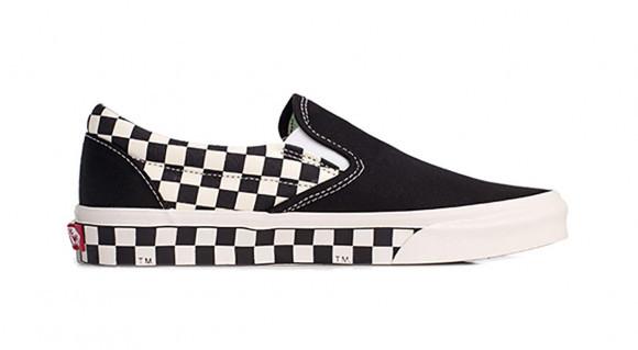 Vans Classic Slip-On 'Sidewall Check - Black' Black/White VN0A38F7RA9 - VN0A38F7RA9