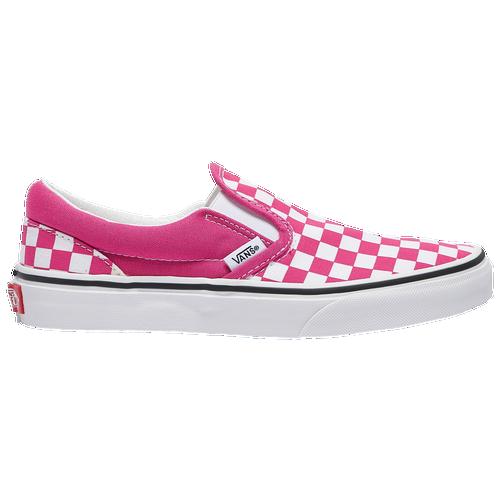 Vans Slip On - Girls' Grade School Skate/BMX Shoes - Pink / White ...
