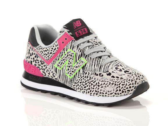 Womens New Balance 574 Animal Print Athletic Shoe - Black / Neon Mint / Pink - WL-574-ANA