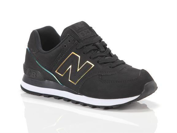 Womens New Balance 574 Athletic Shoe - Black / Iridescent - WL-574-CLG